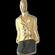 18k Gold Diamond Onyx Lady Suit Charm Pendant for Bracelet or Necklace