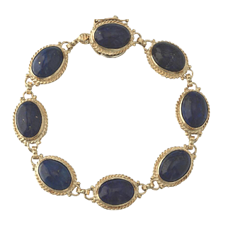 14k Gold Lapis Lazuli Gemstone Bezel Set Bracelet
