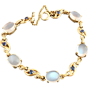 Retro 14k Gold Moonstone and Sapphire Gemstone Bracelet