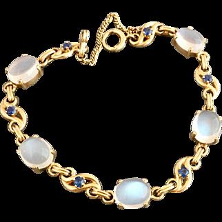 Retro 14k Gold Moonstone and Sapphire Gemstone Bracelet