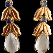 Retro 14k Gold Moonstone and Sapphire Gemstone Earrings HOLD FOR ELIZABETH