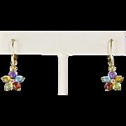 14k Gold Multi Gemstone Amethyst Peridot Garnet Topaz Earrings