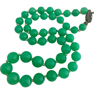 Chinese Chrysoprase Gemstone Sterling Silver Beaded Necklace