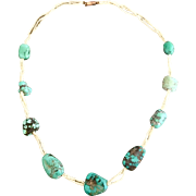 Antique Georgian 9k Gold Natural Seed Pearl and Turquoise Nugget Triple Strand Necklace