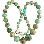 Sterling Silver Chinese Old Mine Natural Turquoise Necklace Heavy 404 Grams