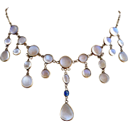 Antique Victorian  9k Gold Glowing Moonstone Sapphire Gemstone Festoon Necklace