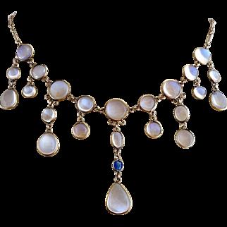 Antique Victorian  9k Gold Glowing Moonstone Sapphire Gemstone Festoon Necklace