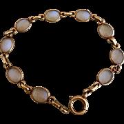 14k Gold Retro 14k Gold Glowing Moonstone Open Back Bezel Set Bracelet