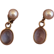 14k Gold Retro Moonstone and Natural Pearl Earrings