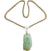 Antique Victorian 14K Gold Jadeite & Enamel Pendant Necklace Chain