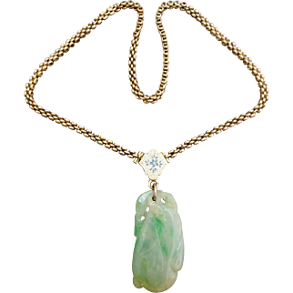 Antique Victorian 14K Gold Jadeite & Enamel Pendant Necklace Chain
