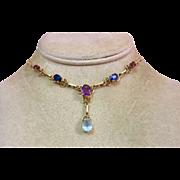 14k Gold Multi Gemstone Amethyst Sapphire Garnet and Topaz Drop Necklace