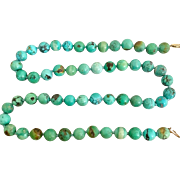 Old Chinese Turquoise 14k Gold Fill Necklace Heavy 69 Grams