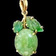 18k Gold Jade and Carved Emerald Pendant Charm for Necklace or Bracelet