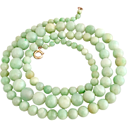 Art Deco 9K Gold Jadeite Jade Beaded Necklace 59 Grams