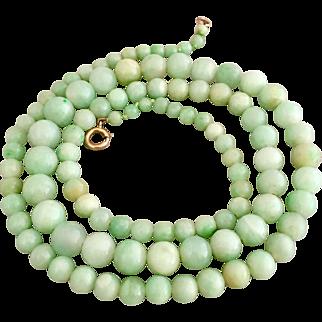 Art Deco 9K Gold Jadeite Jade Beaded Necklace 59 Grams