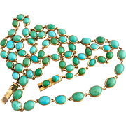 Antique Victoran 14k Gold Riviere Natural Turquoise Open Back Necklace