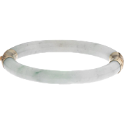 14k Gold Chinese Carved Jadeite Jade Hinged Bangle Bracelet 43 Grams