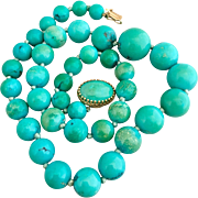 Retro 14k Gold Natural Persian Turquoise Beaded Necklace
