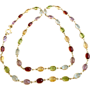 Vintage 14k Gold Multi Gemstone Amethyst ~ Garnet ~ Citrine ~ Topaz and Peridot Necklace