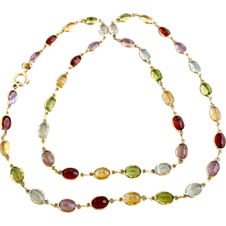 Vintage 14k Gold Multi Gemstone Amethyst ~ Garnet ~ Citrine ~ Topaz and Peridot Necklace