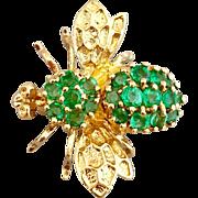 Vintage 14k Gold Emerald Gemstone Bug Fly Brooch Pin