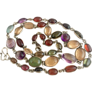 Art Deco Sterling Silver Amethyst Citrine Tourmaline Aquamarine Multi Gemstone Necklace