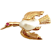 Retro 14 Gold Natural Biwa Pearl Ruby Brooch Pin