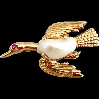 Retro 14 Gold Natural Biwa Pearl Ruby Brooch Pin