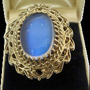 Retro 14k Gold Glowing Ceylon Moonstone Ring Huge 10ct