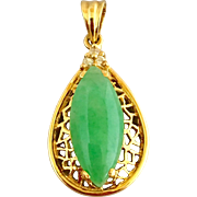 Vintage 18k Gold Chinese Jadeite Jade and Diamond Pendant Charm for Necklace or Bracelet