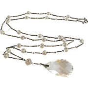 Sterling Silver Art Deco Quartz Rock Crystal Lavaliere Necklace