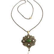 Antique Edwardian Natural Turquoise and Pearl Pendant Necklace