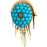 18k Gold Antique Victorian Pave Cluster Persian Turquoise Diamond Brooch Pin