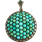 Antique Victorian Pave Cluster Turquoise & Marcasite Sterling Silver Pendant for Necklace