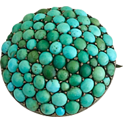 Antique Victorian Pave Cluster Turquoise Sterling Silver Brooch Pin