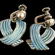 Vintage Sterling Silver Margot De Taxco Blue Enamel Mexican Mexico Screw Back Earrings