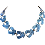 Vintage Sterling Silver Margot De Taxco Blue Enamel Mexican Necklace