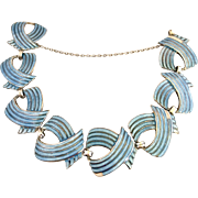 Margot De Taxco Vintage Sterling Silver Blue Enamel Mexican Bracelet