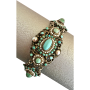 Antique Victorian Hungarian Austro Turquoise Seed Pearl Gilded Silver Bracelet