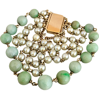 Antique 14k Gold Chinese Jadeite Jade Natural Pearls Triple Strand Bracelet Heavy