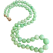 9K Gold Jadeite Jade Glass Beaded Necklace