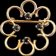 Retro Vintage 14k Gold Sapphire Gemstone Brooch