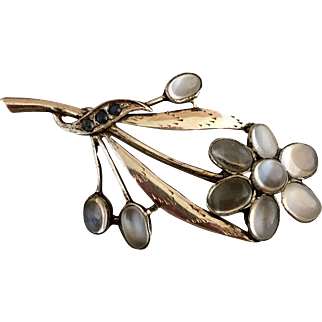 Antique Sterling Silver Glowing Moonstone and Sapphire Flower Brooch Pin