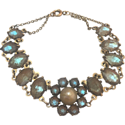 Rare Antique Edwardian 14k Gold Saphiret Glass and Pearl Bracelet