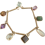 Art Deco 14k Gold Moonstone Tourmaline Garnet Amethyst Aquamarine Multi Gemstone Charm Bracelet