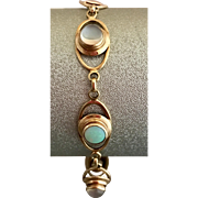 Retro 10K Gold Moonstone and Opal Bracelet