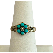 Antique Georgian 9k Gold Turquoise and Seed Pearl Ring