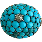 Antique 14k Gold Georgian Diamond and Turquoise Cluster Brooch