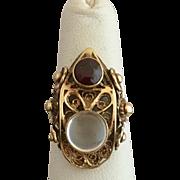Antique 14k Gold Filigree Moonstone and Garnet Gemstone Ring